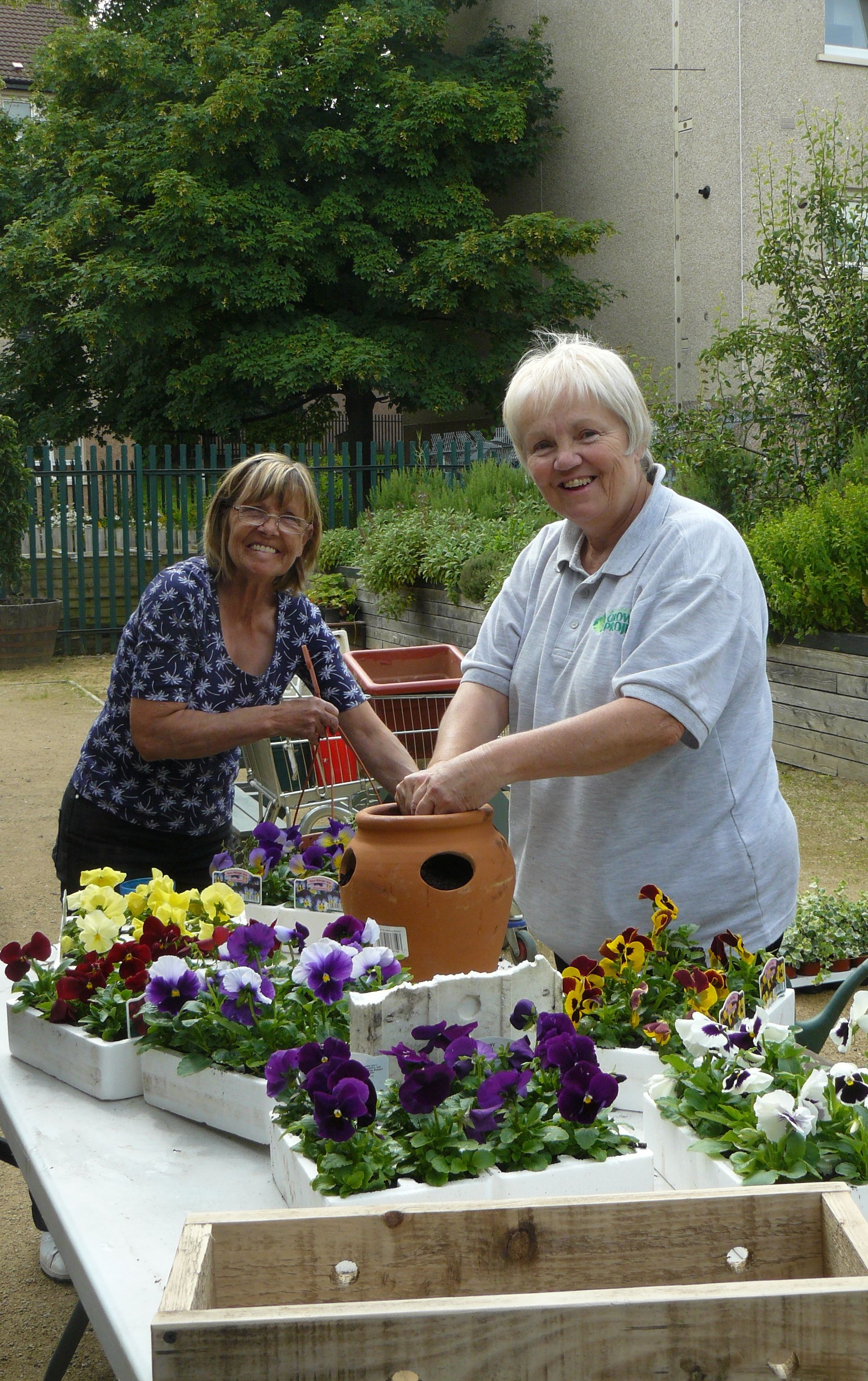 Marion and Margaret happy at work